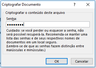 Criptografar documento do Microsoft Excel
