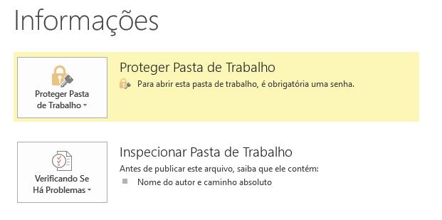 Proteger Pasta de Trabalho no Microsoft Excel