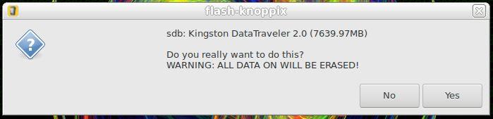 Particionar e formatar pendrive para Linux KNOPPIX - confirmação