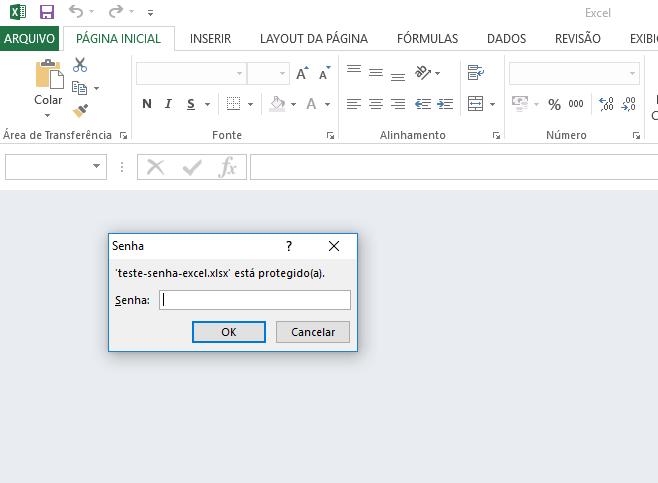 Abrindo documento protegido por senha no Microsoft Excel