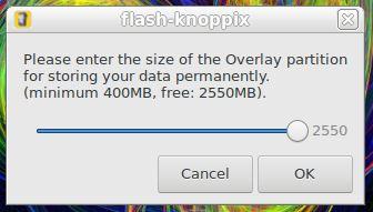 Partição de overlay (persistente) para KNOPPIX Linux
