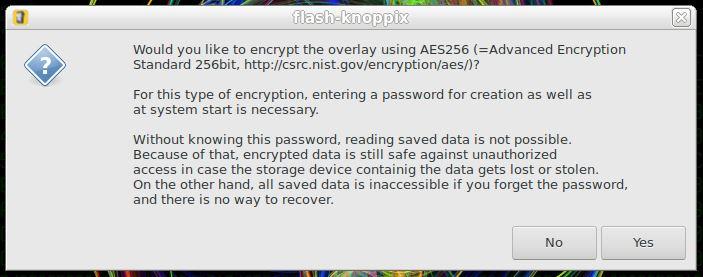 Criptografando partição persistente no Linux KNOPPIX com AES256