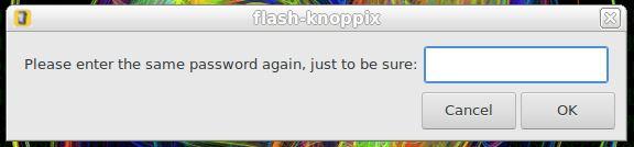 Senha para acesso em partição persistente no KNOPPIX Linux - confirmação