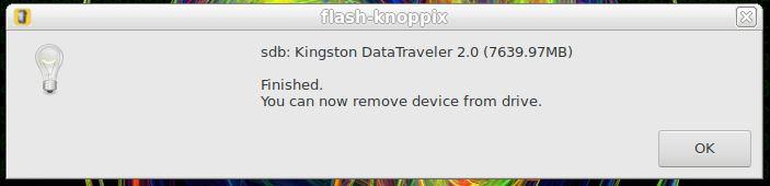Pendrive de boot do Linux KNOPPIX criado com sucesso
