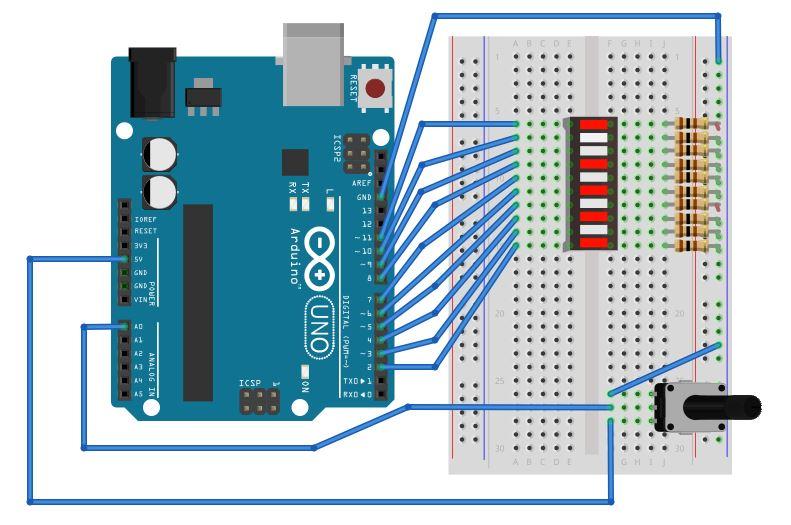 LED bargraph com Arduino - visão matriz de contatos