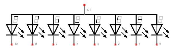 Conexões e pinagem de um Display de Sete Segmentos de Anodo Comum