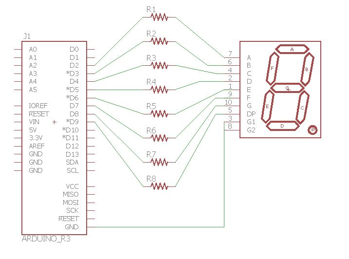 Diagrama esquemático do display de 7 segmentos com Arduino