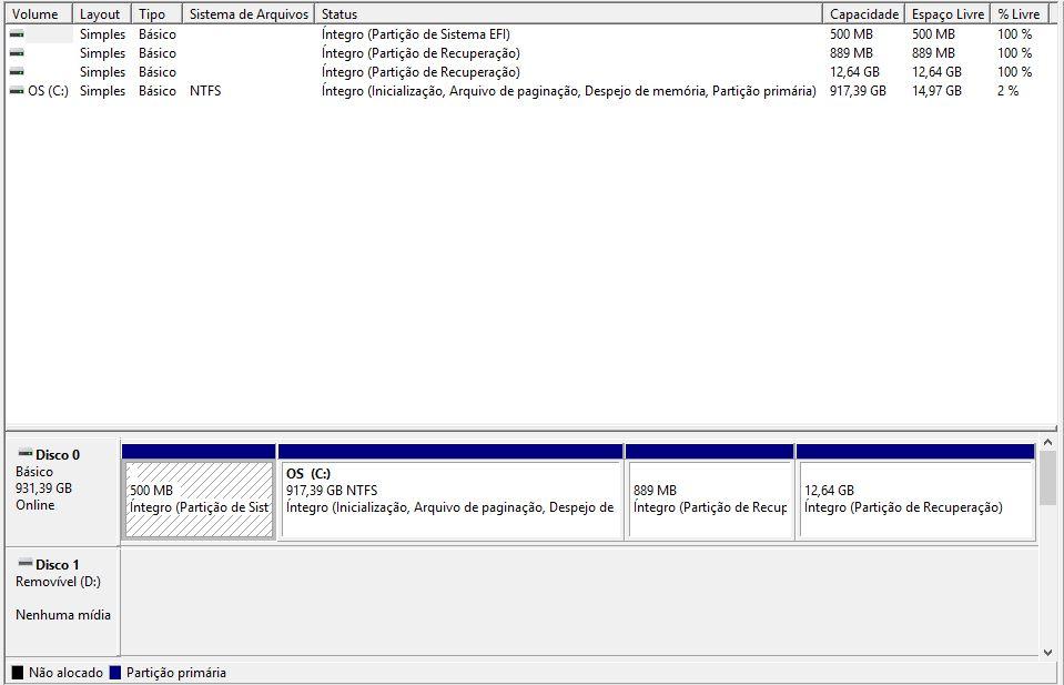 Ferramenta para Gerenciamento de Discos do Windows