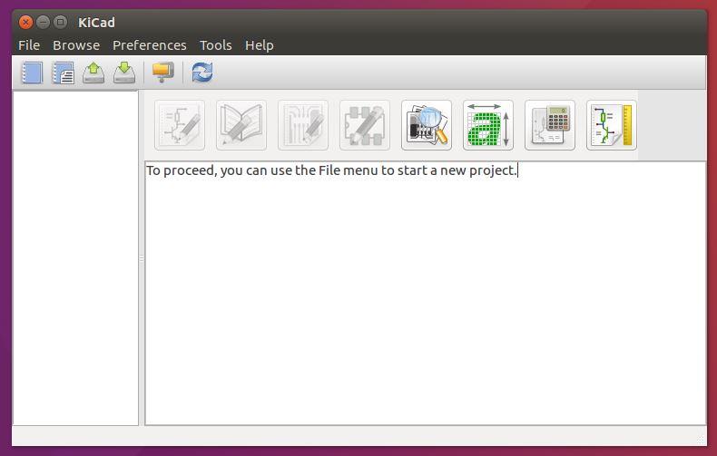 Tela inicial do KiCad no Ubuntu Linux