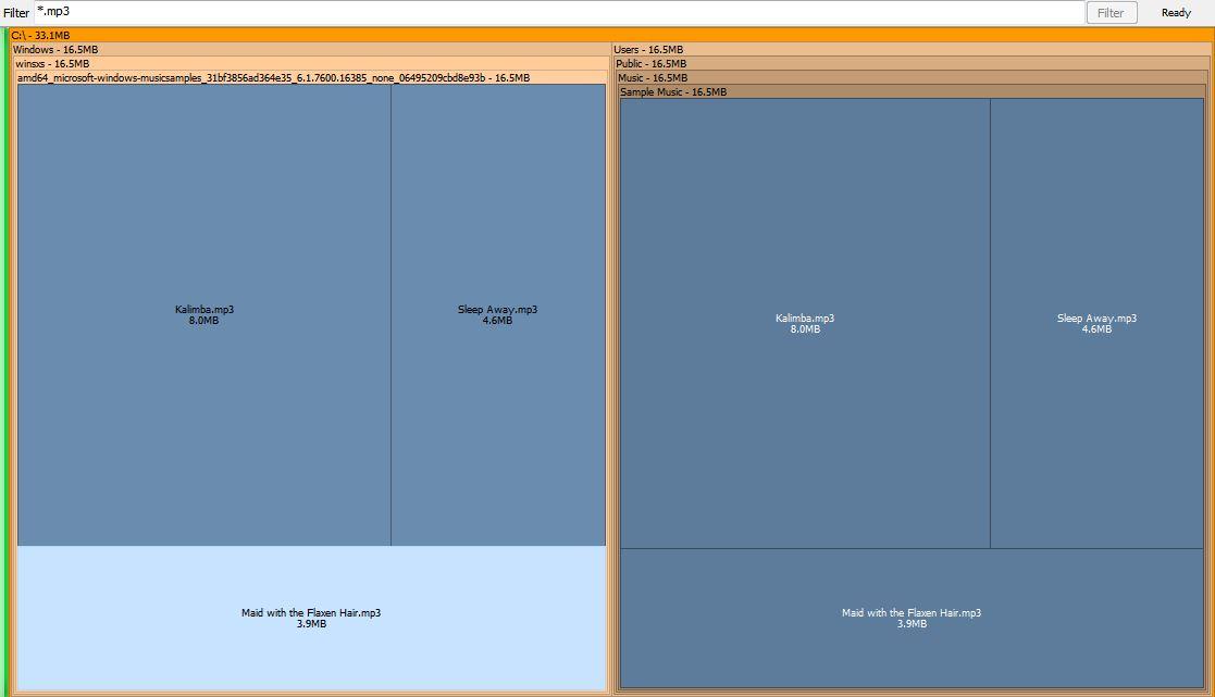 SpaceSniffer filtrando arquivos de música mp3