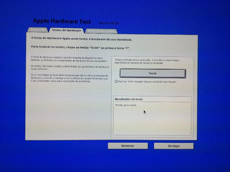 Tela inicial do AHT - Apple Hardware Test