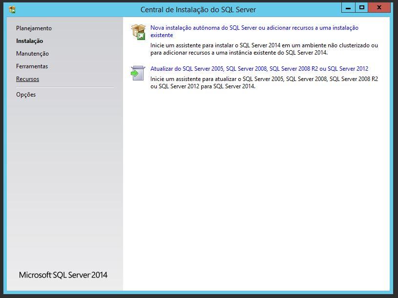 Central de Instalação do SQL Server 2014