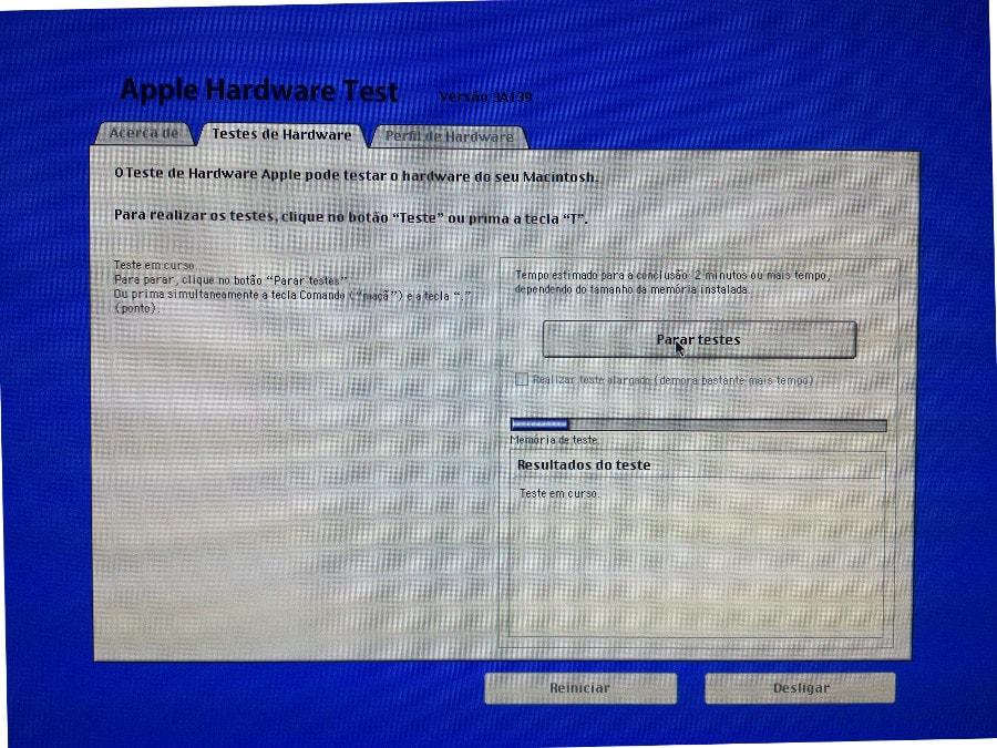Realizando teste do AHT no iMac