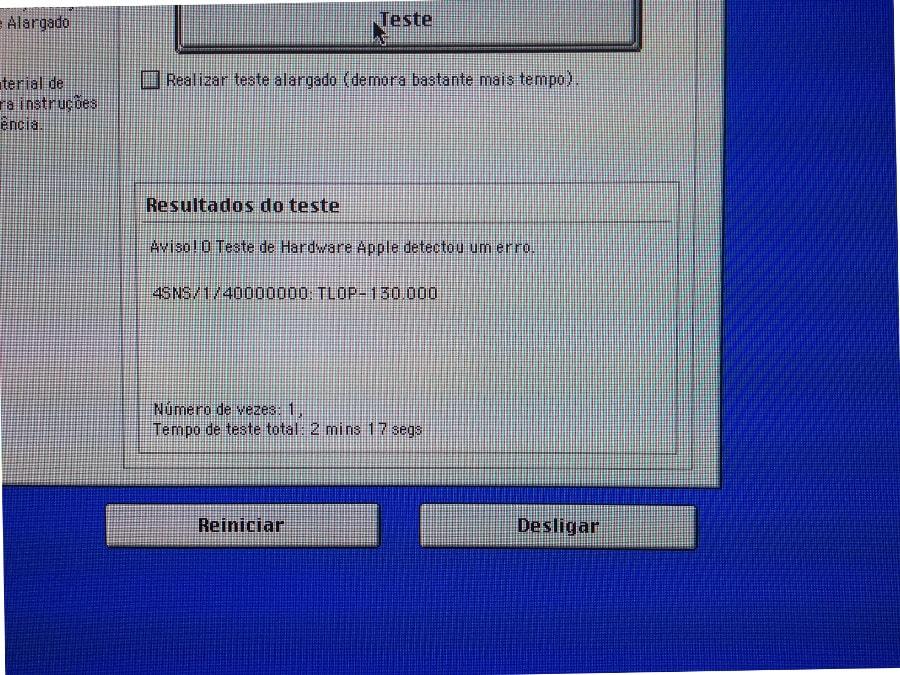 Resultados do teste do AHT em um iMac