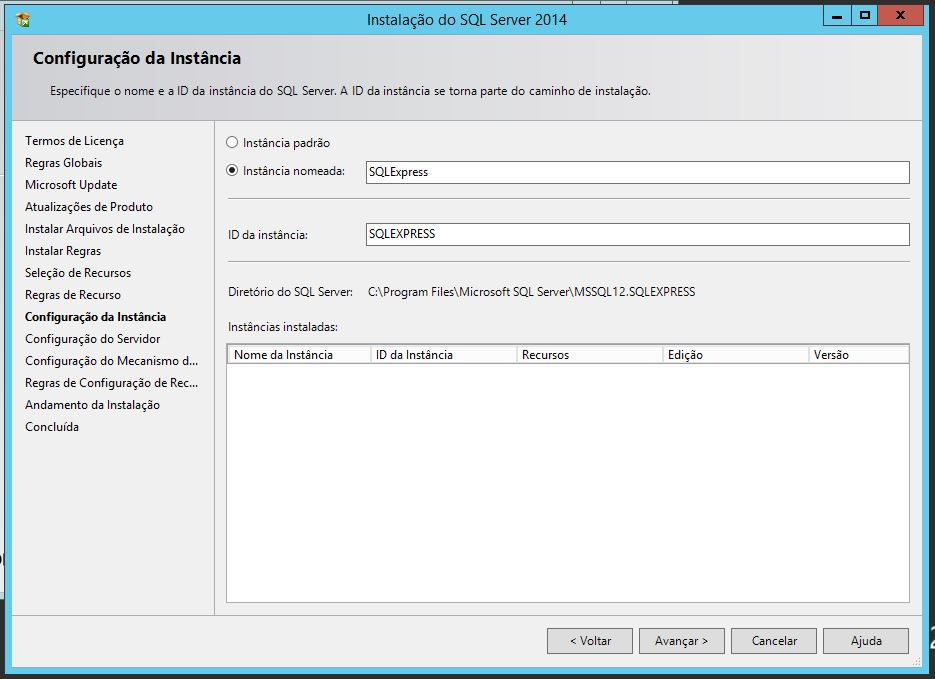 Configurando instância do SQL Server 2014