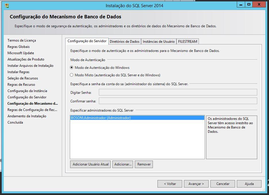 Configuração do Mecanismo de Banco de Dados do SQL Server 2014