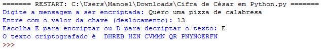 Criptografando mensagem com cifra de césar em Python