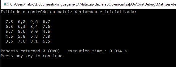 Criando e exibindo matrizes em C