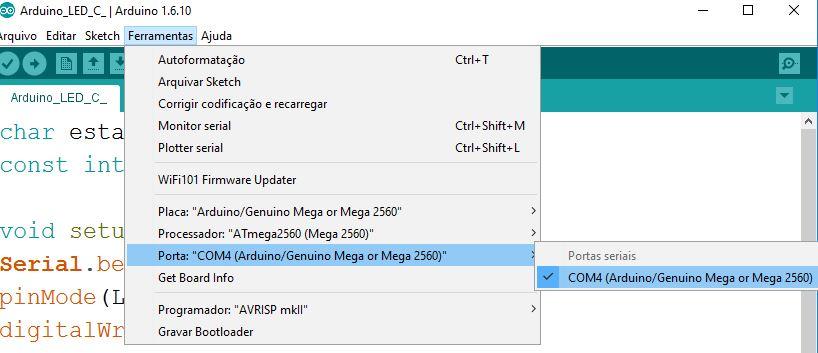 Porta Serial do Arduino para conexão ao Visual Studio - C#