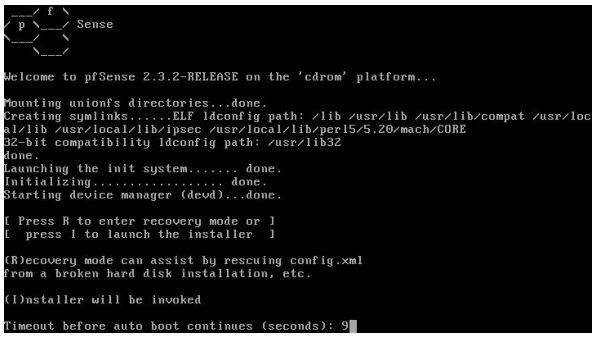 Tela inicial de instalação do pfSense