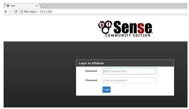 """Tela de login do Pfsense,  usuário """"admin"""" senha """"pfsense"""""""