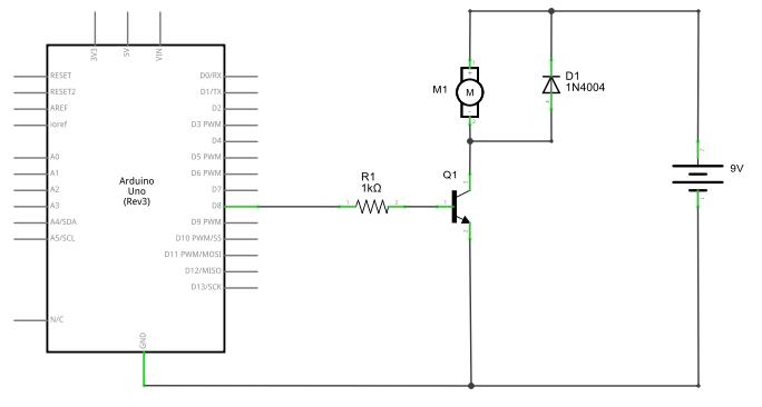 Acionando motor DC com Arduino e transistor 2N2222