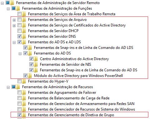 Ativar recursos do Windows para SAMBA