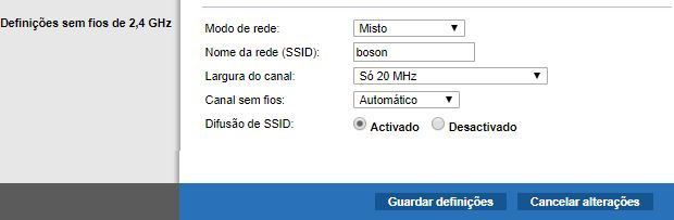 SSID da rede wireless da Bóson