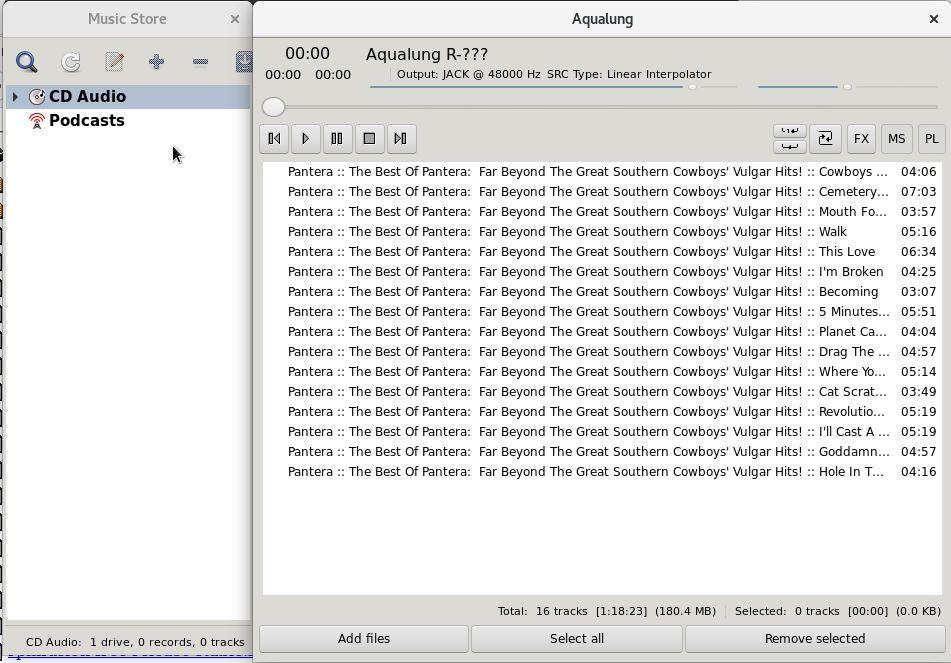 Aqualung Player no Fedora Linux tocando Pantera