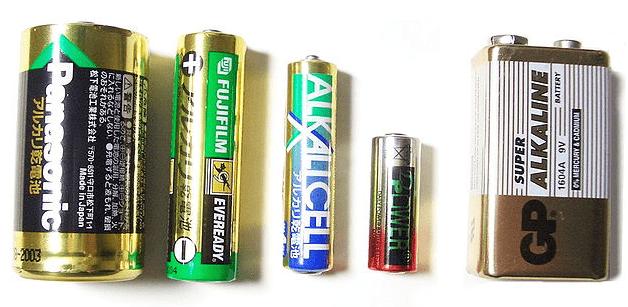 Baterias alcalinas em diversos tamanhos