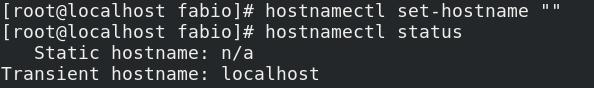 Configurar hostname transiente no Linux Fedora