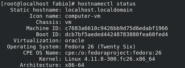 Comando hostnamectl no Linux Fedora