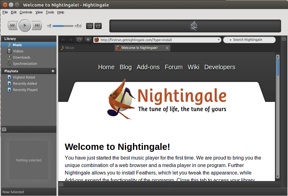 Player de música Nightingale no Ubuntu Linux