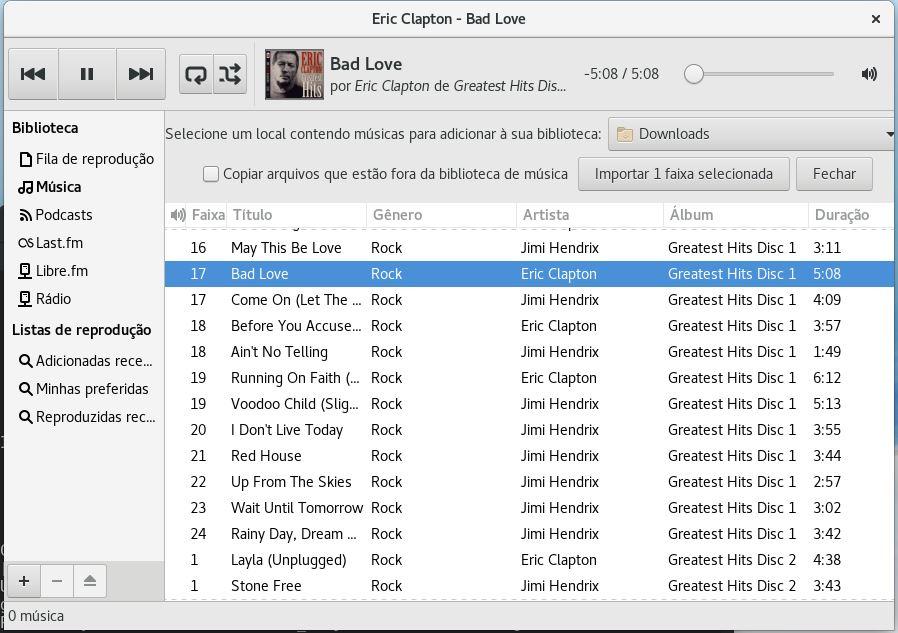 Tocador de música Rhythmbox no Linux Fedora