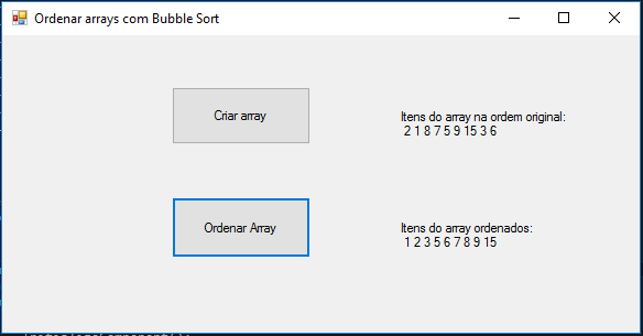 Ordenar array em C# com método bubblesort