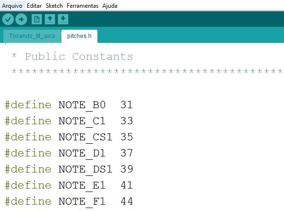 Arquivo de definição de tons no Arduino - pitches.h