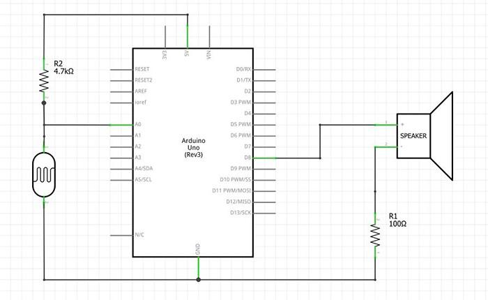 Circuito esquemático - tocar sons no Arduino com sensor de luz