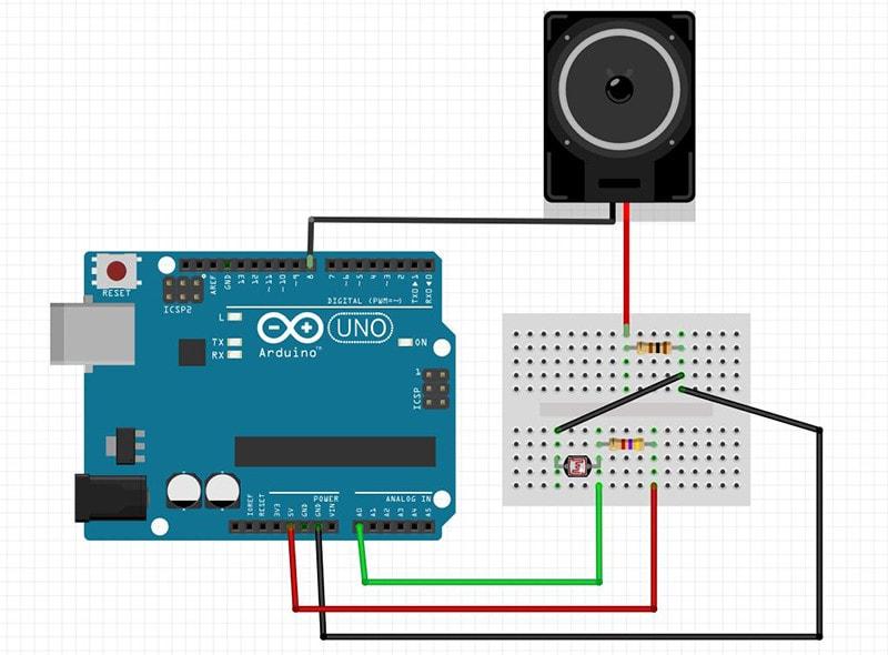 Tocando sons no Arduino a partir de sensor LDR