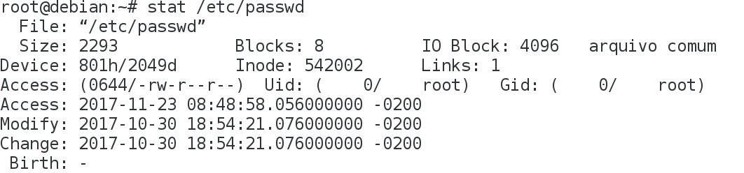 Comando stat no Linux  mostrando inodes