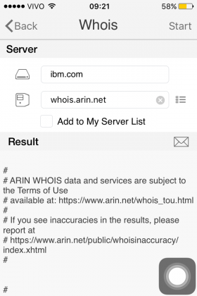 Whois rodando no iPhone com iNetTools