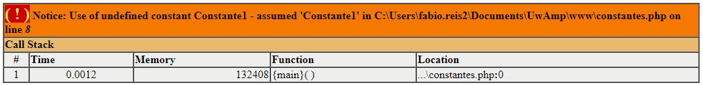 Erro em constantes de nome diferente no PHP
