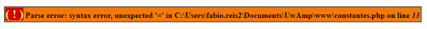 Erro em atribuição de constantes no PHP