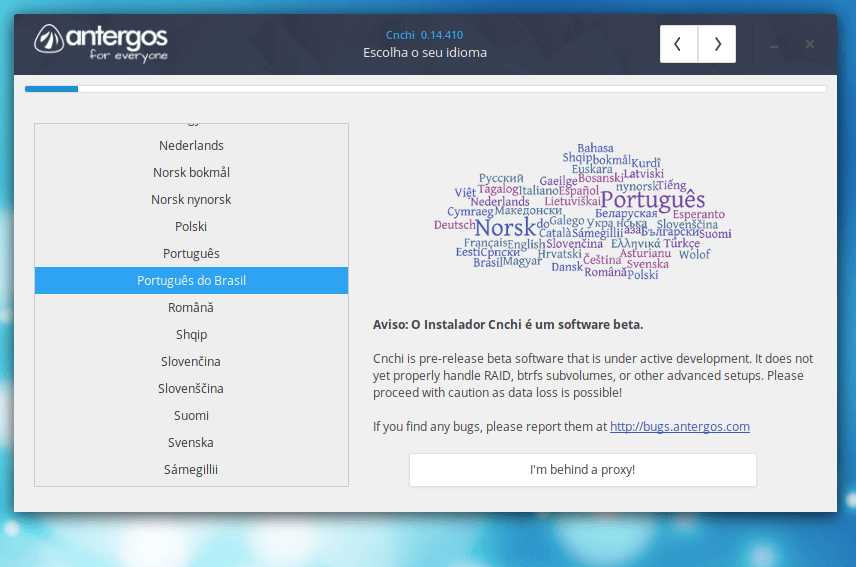 Idioma do Antergos Linux