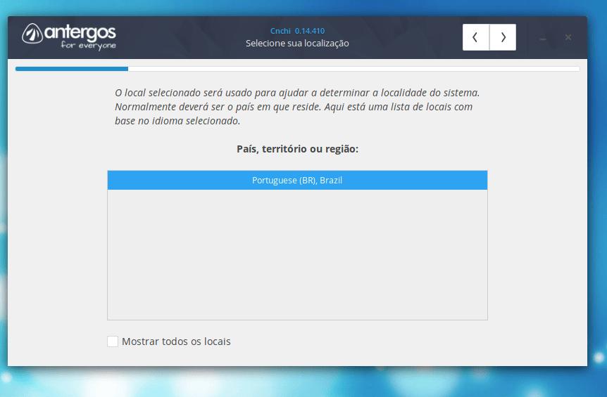 País, Território ou Região no Linux Antergos