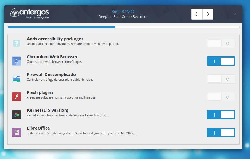 Seleção de Recursos do ambiente Deepin no Antergos Linux
