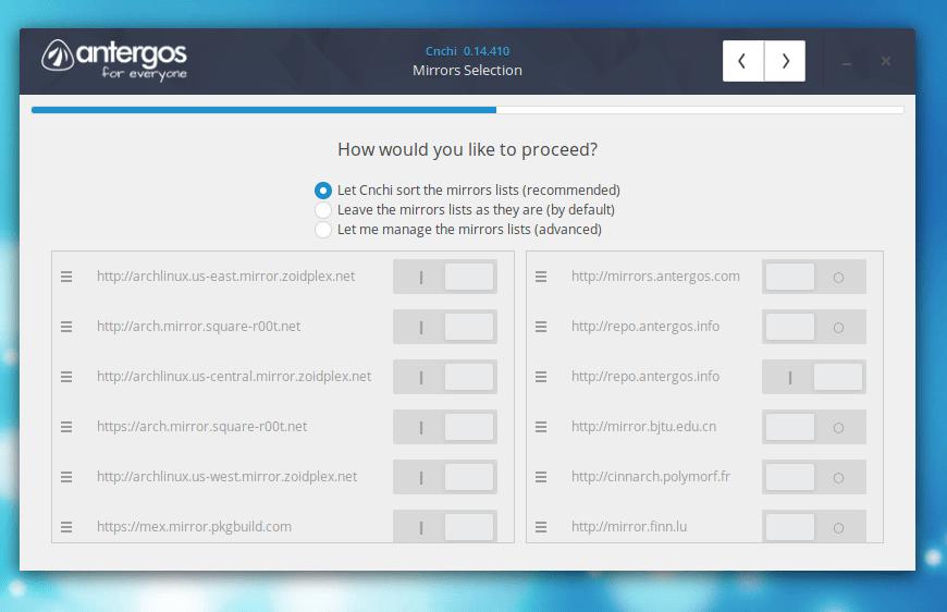 Selecionar Espelho de Rede no Linux Antergos