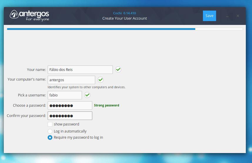 Criar conta de usuário no Linux Antergos