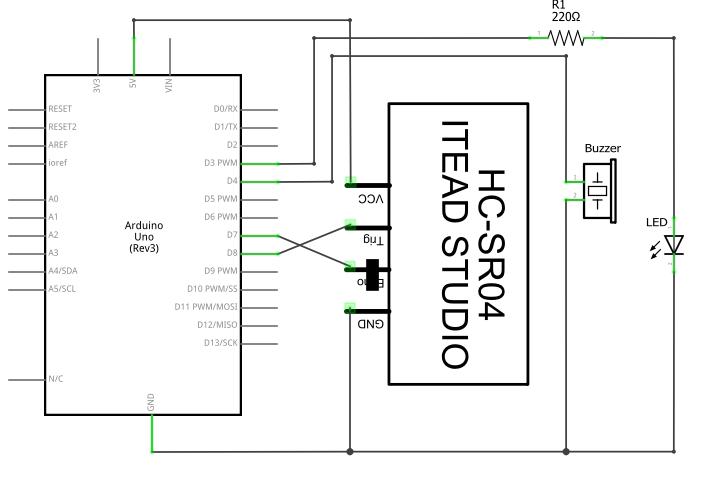 Arduino com sensor ultrassônico e alarme com buzzer e LED