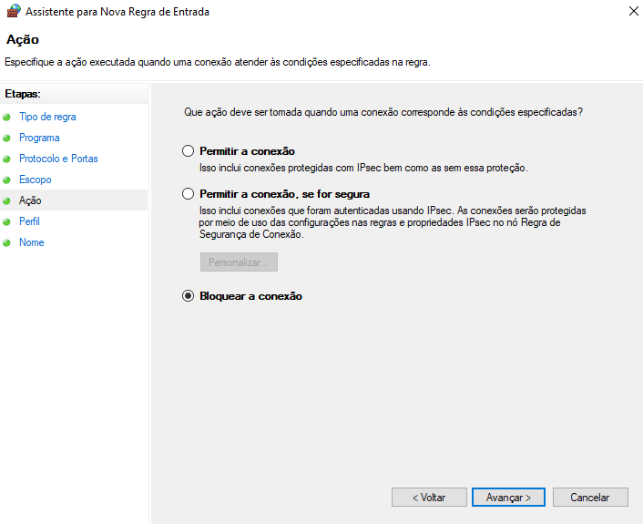 Regra de firewall para bloqueio de píng no windows