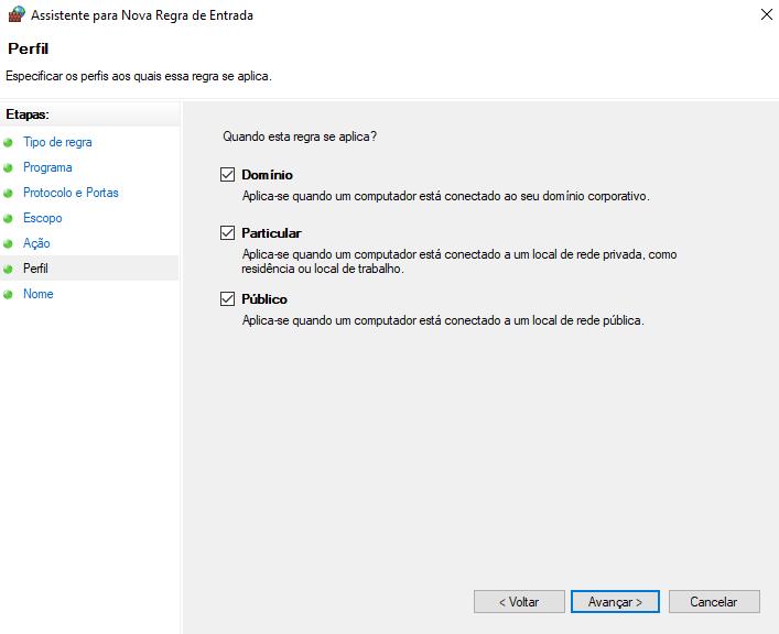 Perfil de regra de firewall no windows